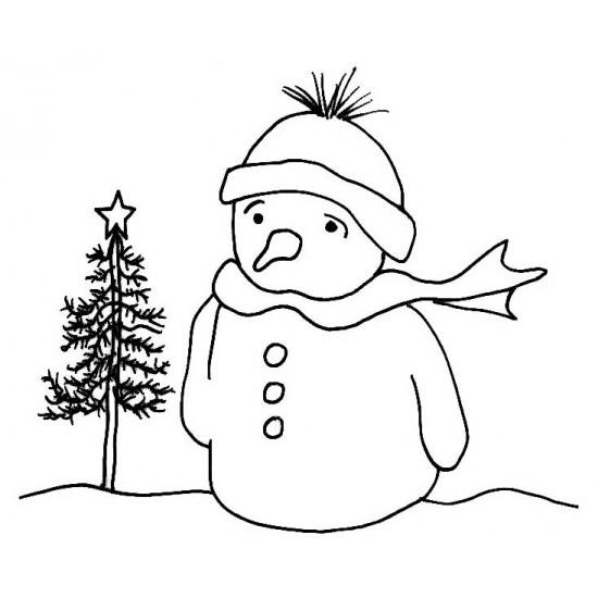 Wistful Snowman Rubber Stamp