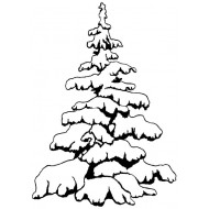 Snowy Tree Small Rubber Stamp