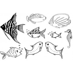 Fishes set of 9 Rubber Stamps
