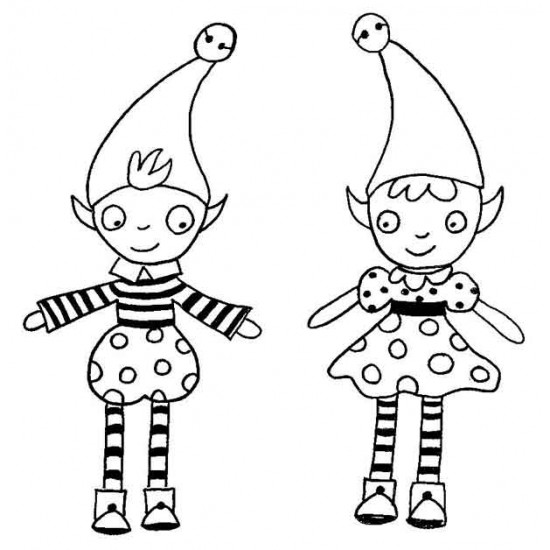 Holly and Phil Elves Rubber Stamp