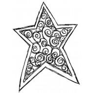Swirl Star Rubber Stamp