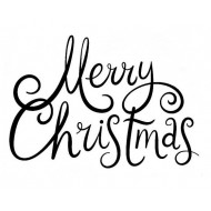 Merry Christmas Freehand Sm Rubber Stamp