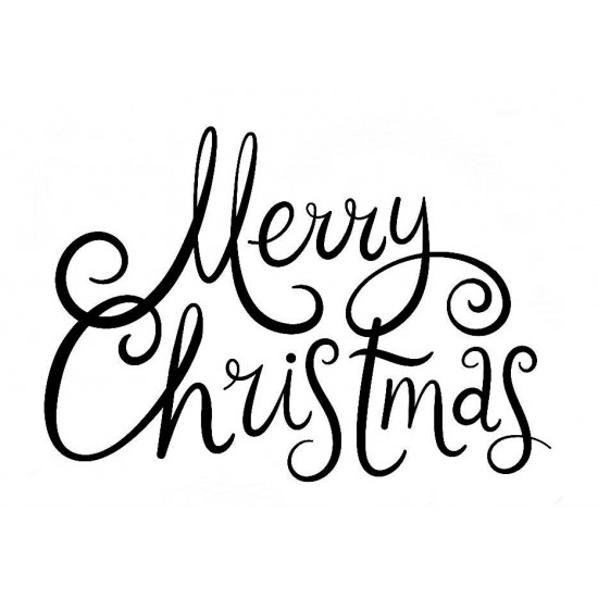 Merry Christmas Freehand Lg Rubber Stamp