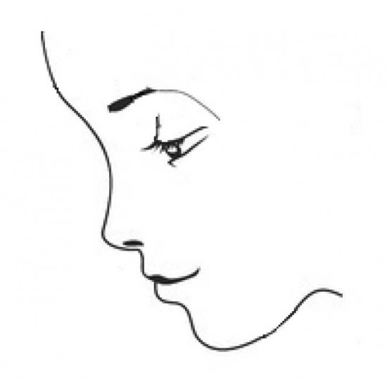 Face Outline Rubber Stamp