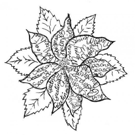 Scripted Poinsettia Rubber Stamp