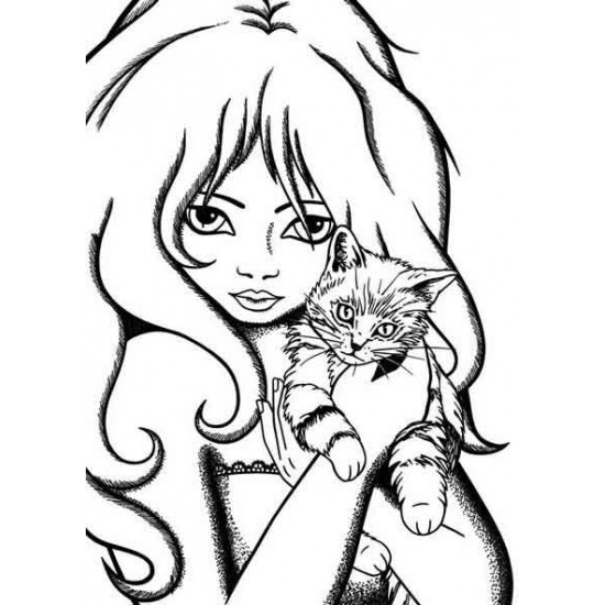 Just Purr-fect Girl Unmounted Rubber stamp