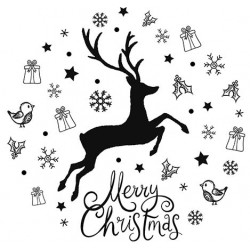 Festive Stag Circle Rubber Stamp