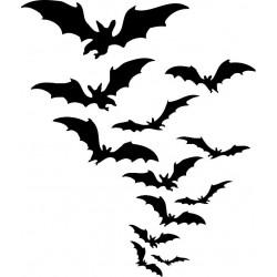 Cloud of Bats Halloween Rubber Stamp