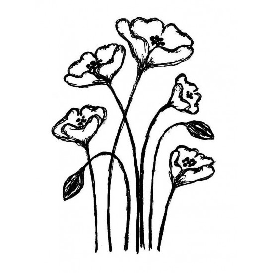Emilys Flowers Rubber Stamp