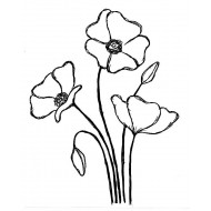 Emilys Poppies Rubber Stamp