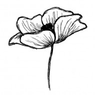 Emily's Poppy Small Rubber Stamp
