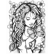 Blossom ATC Cling Rubber Stamp