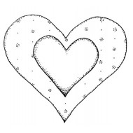 Double Heart Rubber Stamp