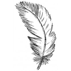 Floating Feather Small Rubber Stamp
