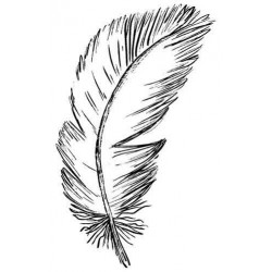 Floating Feather Large Rubber Stamp