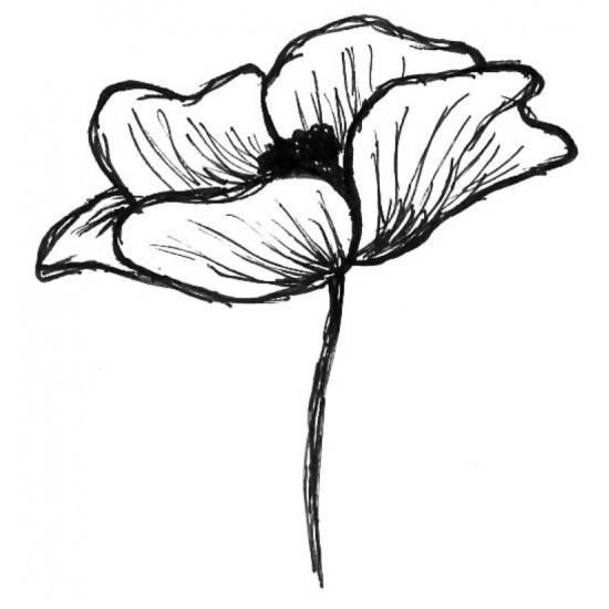 Emily's Poppy Large Rubber Stamp
