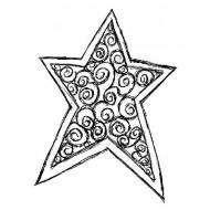 Swirl Star Small Rubber Stamp