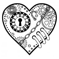 Steampunk Heart Small Rubber Stamp