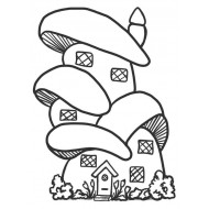 Mushroom House Rubber Stamp