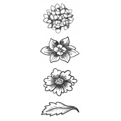 Flower Trio 1 Small Rubber Stamps