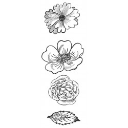 Flower Trio 2 Small Rubber Stamps