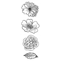 Flower Trio Large Rubber Stamps