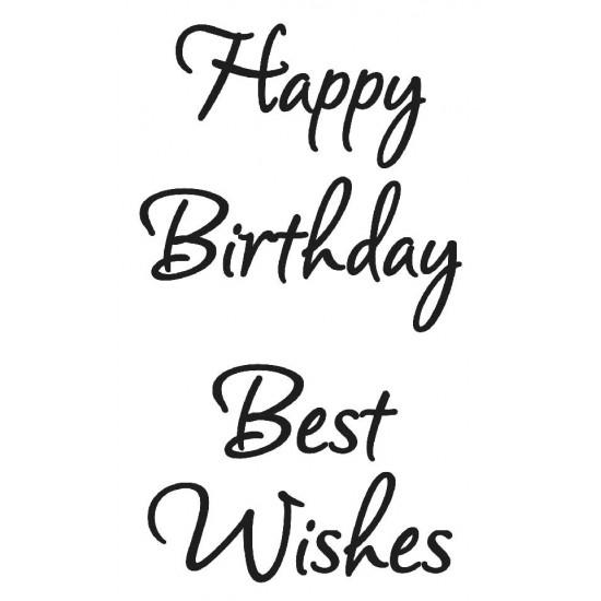 Happy Birthday Best Wishes Rubber Stamp