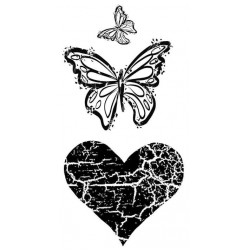 Cracked Heart and Flutters Rubber Stamp Set