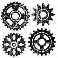 Distressed Cogs Rubber Stamp Set