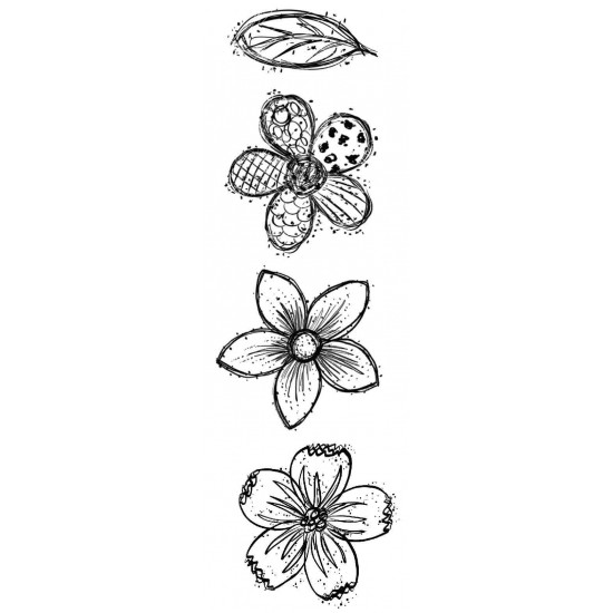 Doodle Blooms Small Rubber Stamp Set