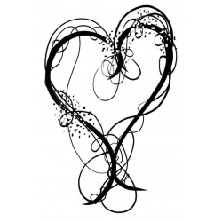 Doodle Swirl Heart rubber stamp