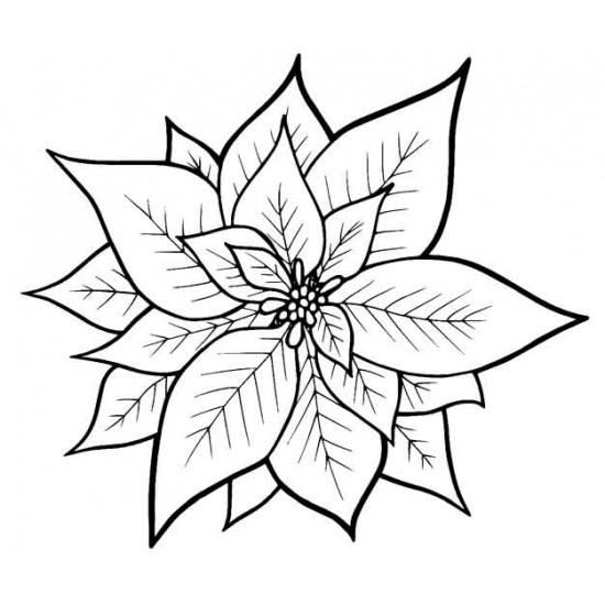 Poinsettia Small Rubber Stamp
