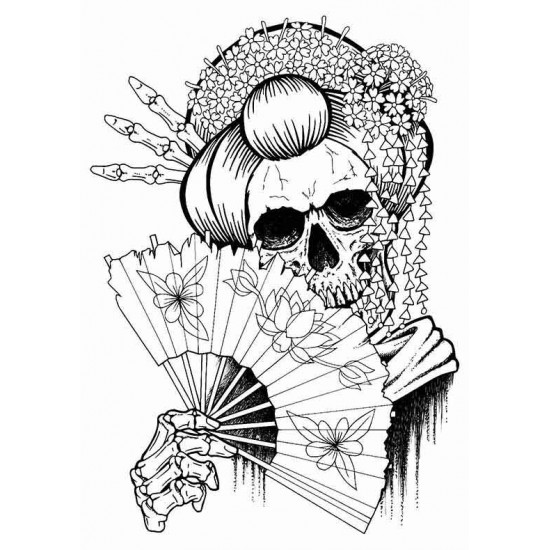 Geisha Skully Cling mounted Rubber stamp