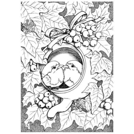 Teapot Robins Rubber Stamp