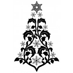Swirl Snowflake Tree Cling Mounted Rubber Stamp