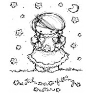 Catch a Falling Star Cling Mounted Rubber Stamp