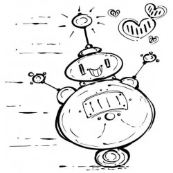 Robot Love Cling Rubber Stamp