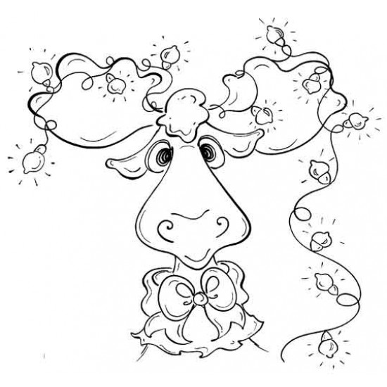 Christmoose Rubber Stamp