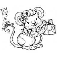 Holly Mouse Rubber Stamp