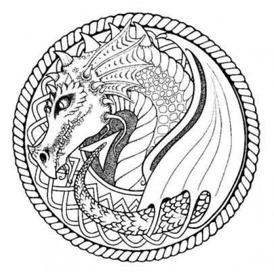 Celtic Knot Dragon and Poppy Cling Rubber Stamps