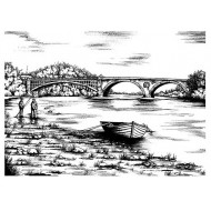 Vintage Anglers Cling Rubber Stamp