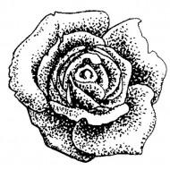 Vintage Rose Head Large Rubber Stamp
