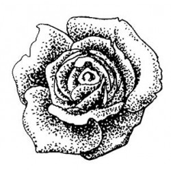 Vintage Rose Head Small Rubber Stamp