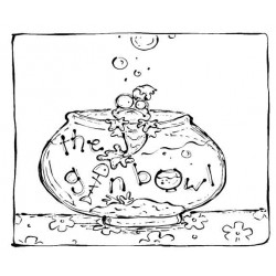 The Gin Bowl cling mounted Rubber Stamp