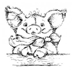 Petunia Pig Cling mounted Rubber Stamp