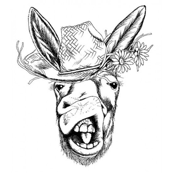 Elvis the Donkey Unmounted Rubber Stamp