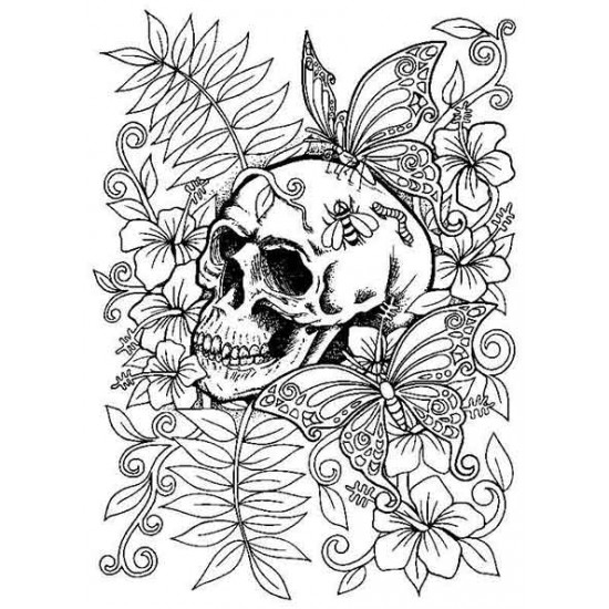 Hibiscus and Butterflies Skull Cling Rubber Stamp
