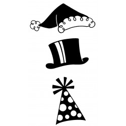 3 Hats Cling Rubber Stamp Set