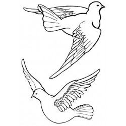 Small Doves Rubber Stamp