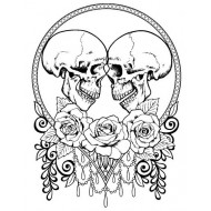 Skully Lovers unmounted rubber stamp